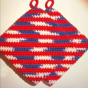 Handmade Red white & blue cotton potholders